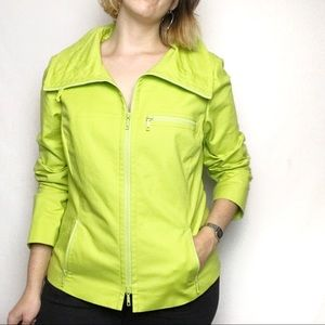 Lafayette 148 Yellow Green Full Zip Jacket Sz 14